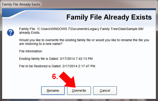 Backup & Restore - how to restore a Legacy file | Legacy