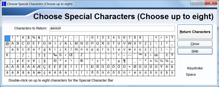 International Language Fonts - Character Ribbon and Character Map