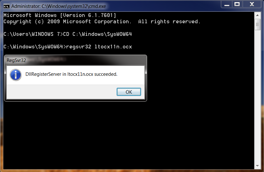mscomctl.ocx is not correctly registered windows 7 64